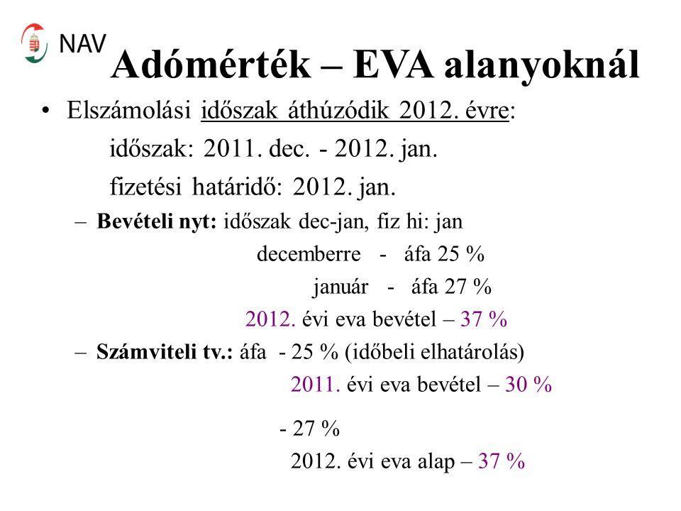 Adómérték – EVA alanyoknál Elszámolási időszak áthúzódik 2012. évre: időszak: 2011. dec. - 2012. jan. fizetési határidő: 2012. jan. –Bevételi nyt: idő