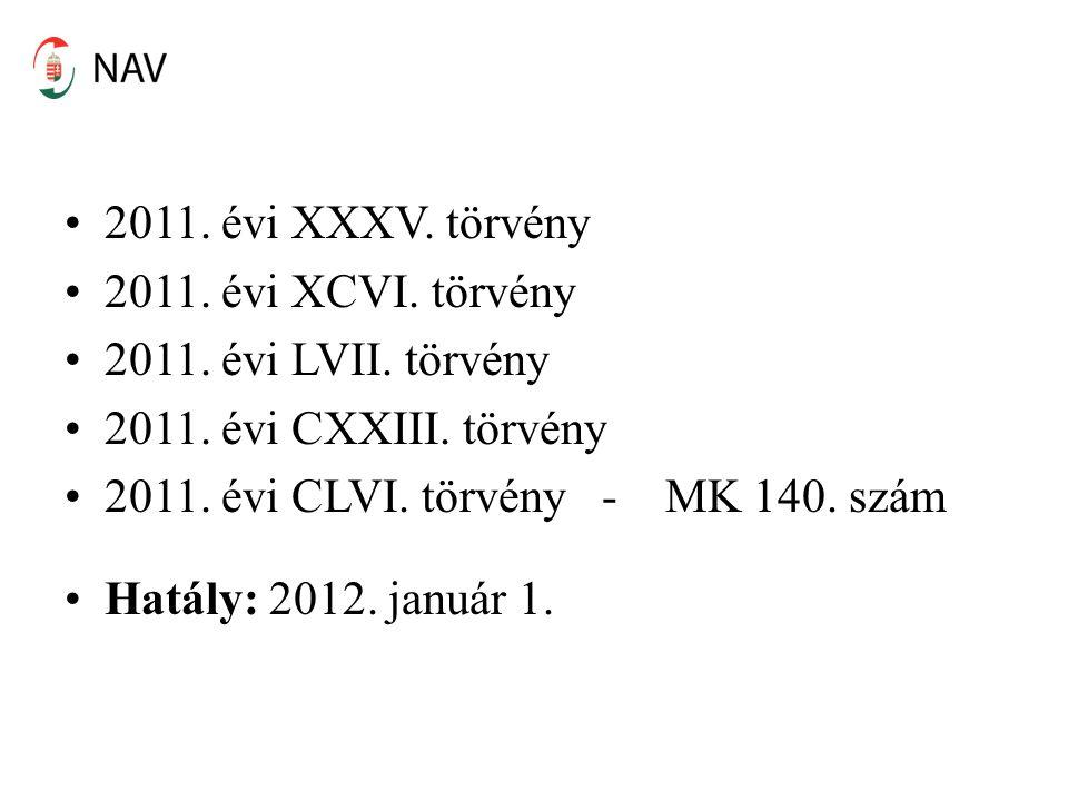 2011. évi XXXV. törvény 2011. évi XCVI. törvény 2011. évi LVII. törvény 2011. évi CXXIII. törvény 2011. évi CLVI. törvény - MK 140. szám Hatály: 2012.