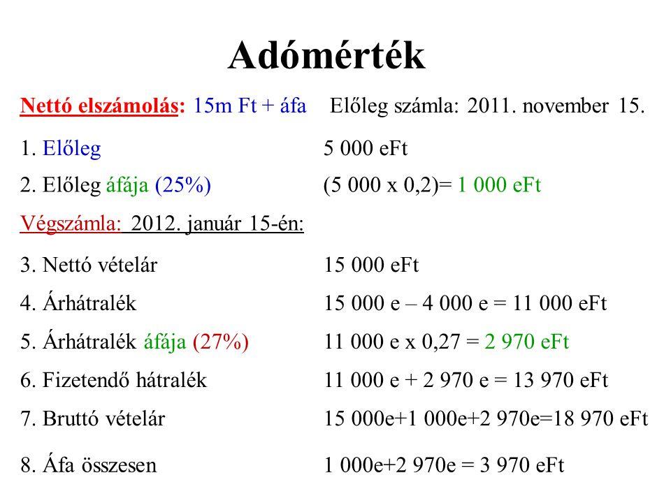 Adómérték Nettó elszámolás: 15m Ft + áfa Előleg számla: 2011. november 15. 1. Előleg5 000 eFt 2. Előleg áfája (25%)(5 000 x 0,2)= 1 000 eFt Végszámla:
