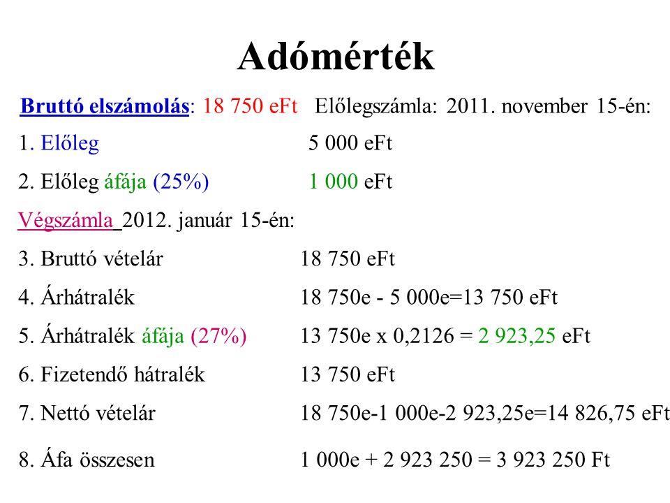 Adómérték Bruttó elszámolás: 18 750 eFt Előlegszámla: 2011. november 15-én: 1. Előleg5 000 eFt 2. Előleg áfája (25%)1 000 eFt Végszámla 2012. január 1