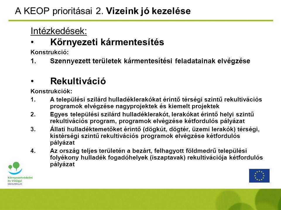 A KEOP prioritásai 2. Vizeink jó kezelése Intézkedések: Környezeti kármentesítés Konstrukció: 1.Szennyezett területek kármentesítési feladatainak elvé