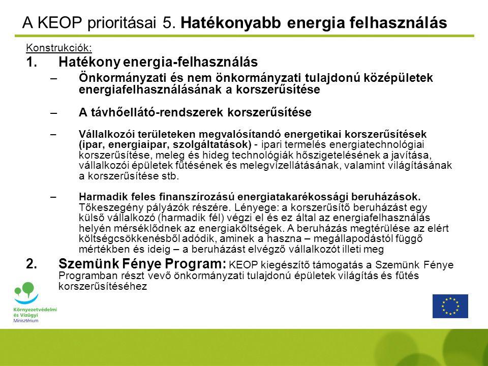 A KEOP prioritásai 5. Hatékonyabb energia felhasználás Konstrukciók: 1.Hatékony energia-felhasználás –Önkormányzati és nem önkormányzati tulajdonú köz