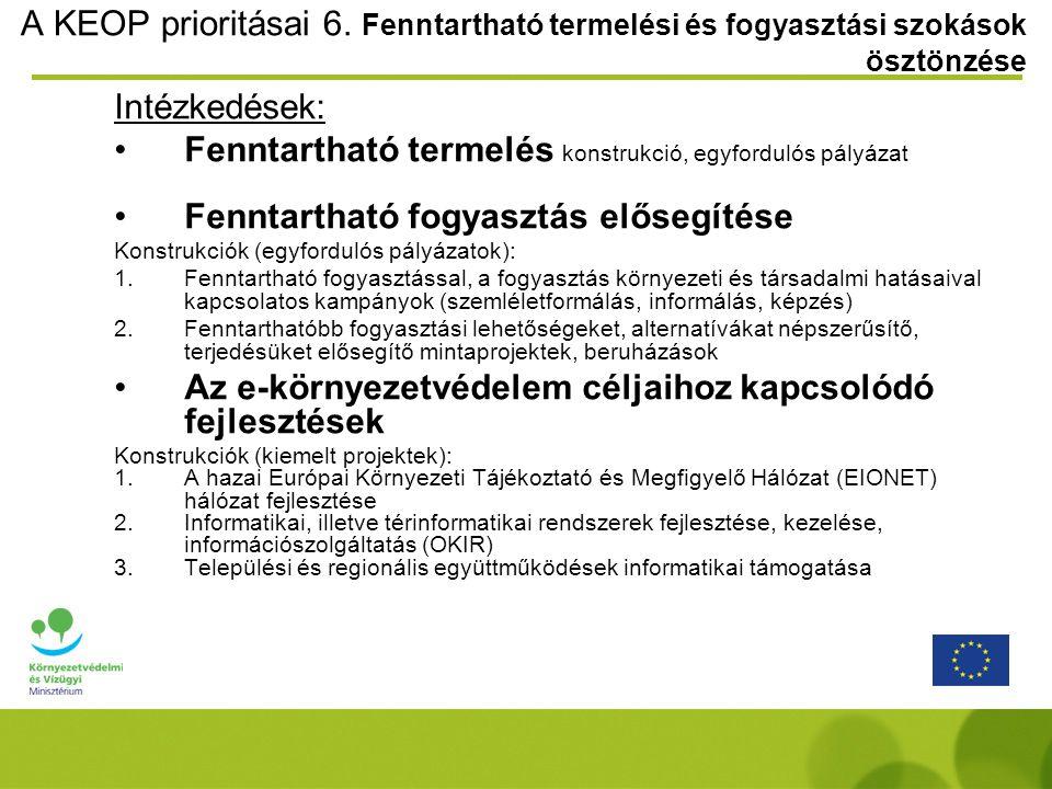 A KEOP prioritásai 6. Fenntartható termelési és fogyasztási szokások ösztönzése Intézkedések: Fenntartható termelés konstrukció, egyfordulós pályázat
