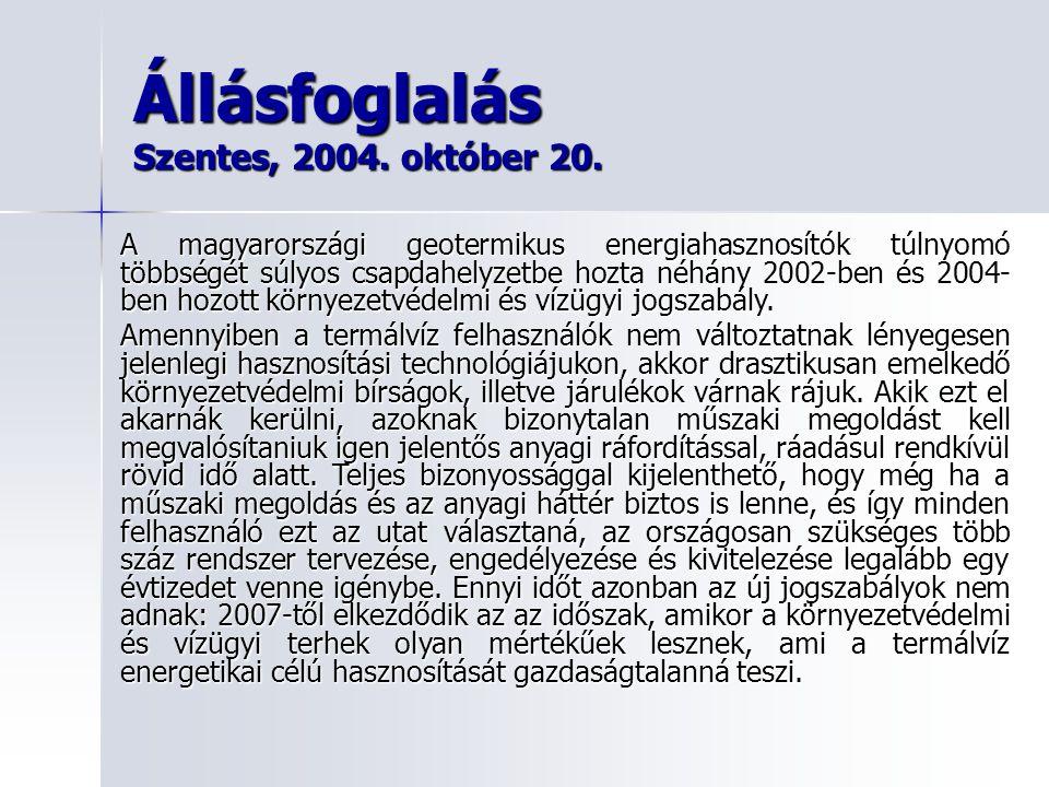 Állásfoglalás Szentes, 2004. október 20. A magyarországi geotermikus energiahasznosítók túlnyomó többségét súlyos csapdahelyzetbe hozta néhány 2002-be