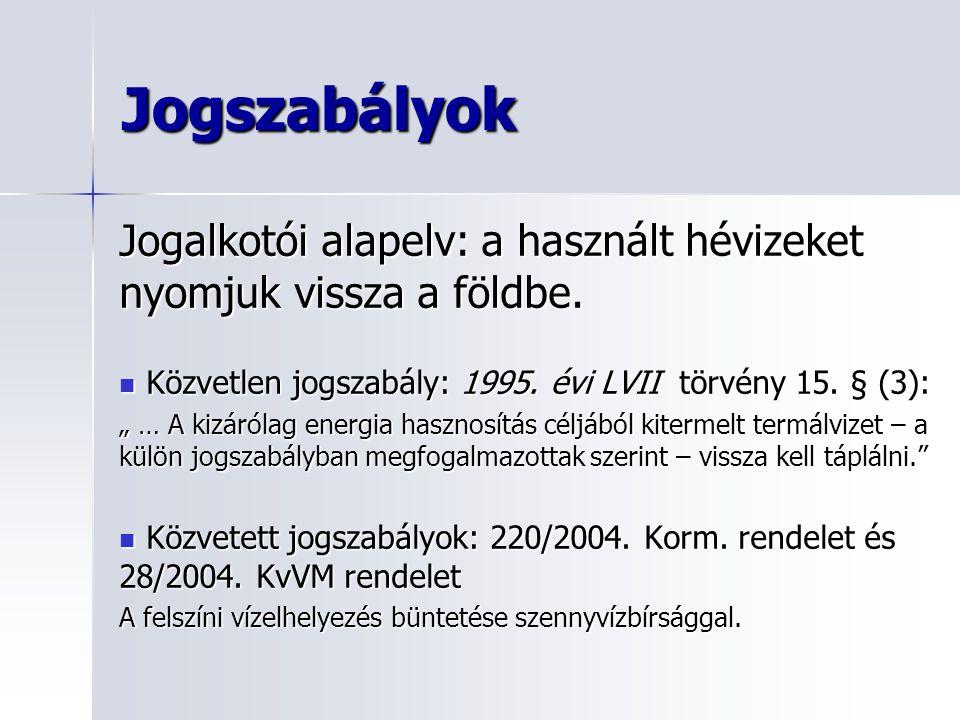 Jogszabályok Jogalkotói alapelv: a használt hévizeket nyomjuk vissza a földbe. Közvetlen jogszabály: 1995. évi LVII törvény 15. § (3): Közvetlen jogsz