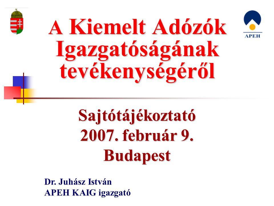 Sajtótájékoztató 2007. február 9. Budapest Dr. Juhász István APEH KAIG igazgató A Kiemelt Adózók Igazgatóságának tevékenységéről