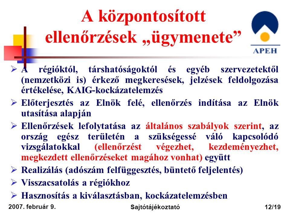 """2007. február 9. Sajtótájékoztató12/19 A központosított ellenőrzések """"ügymenete""""  A régióktól, társhatóságoktól és egyéb szervezetektől (nemzetközi i"""
