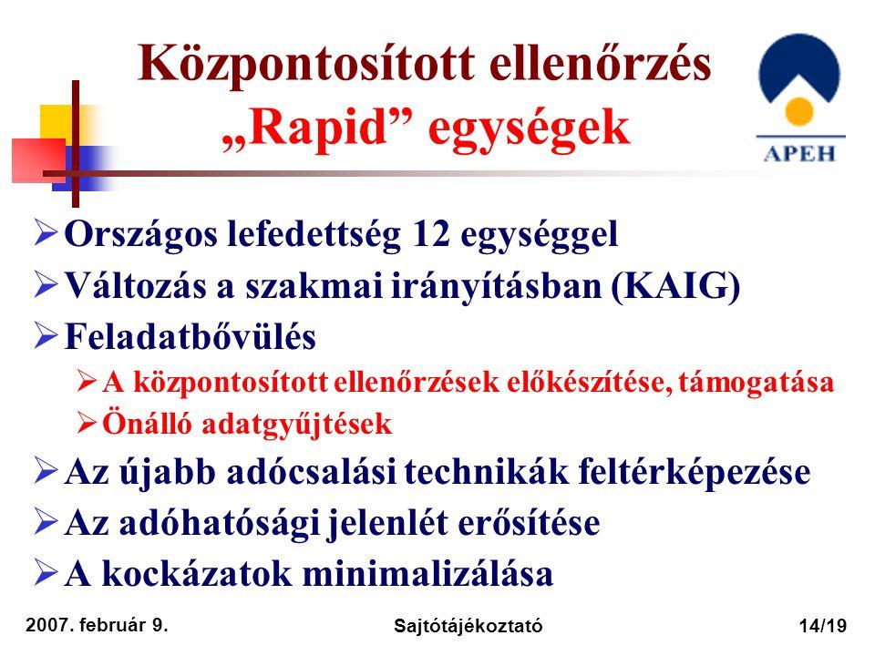 """2007. február 9. Sajtótájékoztató14/19 Központosított ellenőrzés """"Rapid"""" egységek  Országos lefedettség 12 egységgel  Változás a szakmai irányításba"""