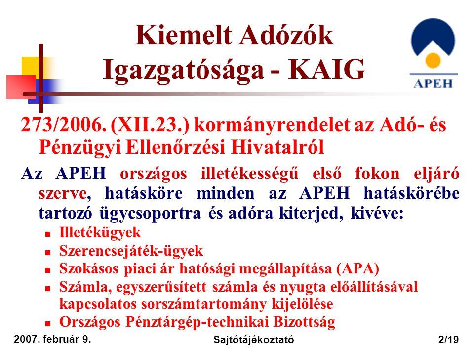 2007. február 9. Sajtótájékoztató2/19 273/2006. (XII.23.) kormányrendelet az Adó- és Pénzügyi Ellenőrzési Hivatalról Az APEH országos illetékességű el