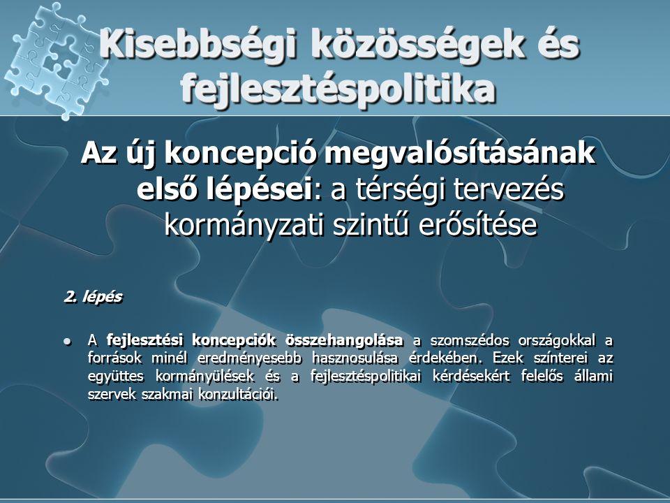 Kisebbségi közösségek és fejlesztéspolitika Az új koncepció megvalósításának első lépései: a térségi tervezés kormányzati szintű erősítése 2. lépés A