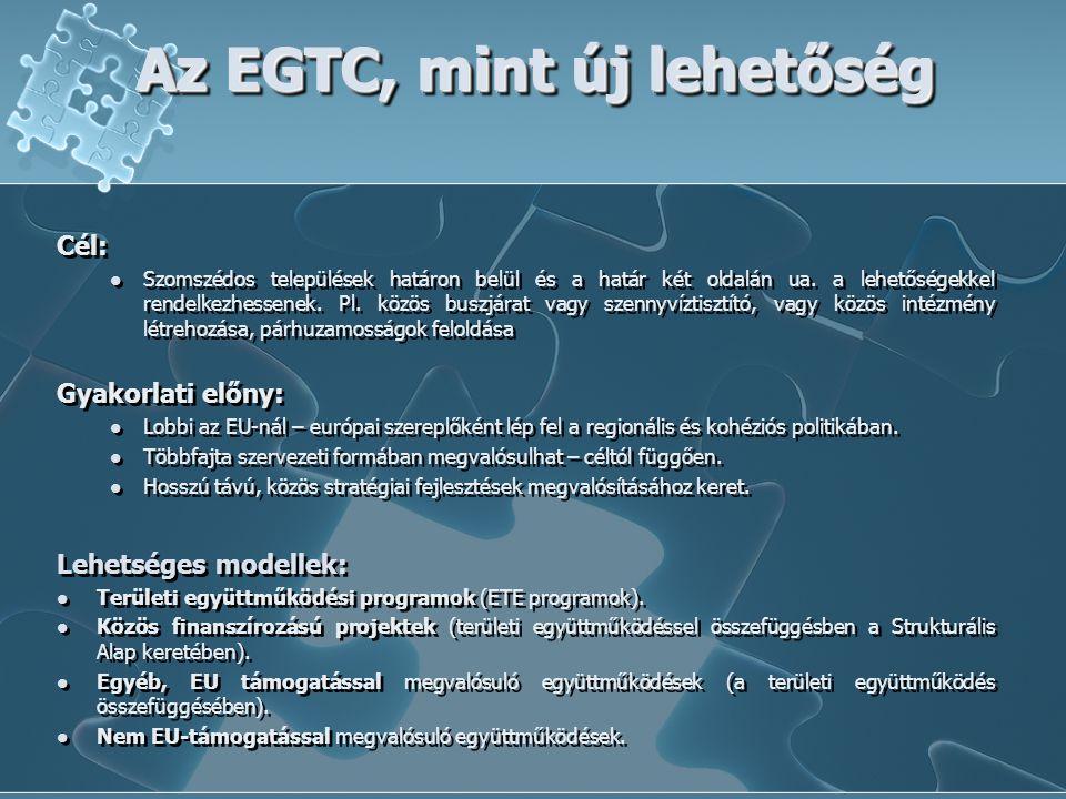 Az EGTC, mint új lehetőség Cél: Szomszédos települések határon belül és a határ két oldalán ua. a lehetőségekkel rendelkezhessenek. Pl. közös buszjára