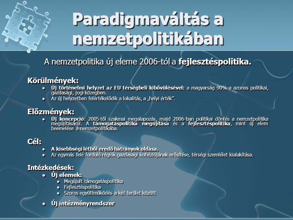 Paradigmaváltás a nemzetpolitikában A nemzetpolitika új eleme 2006-tól a fejlesztéspolitika. Körülmények: Új történelmi helyzet az EU térségbeli kibőv