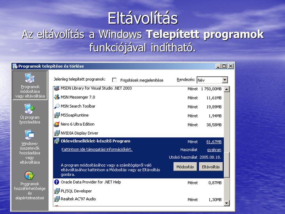 Eltávolítás Az eltávolítás a Windows Telepített programok funkciójával indítható.