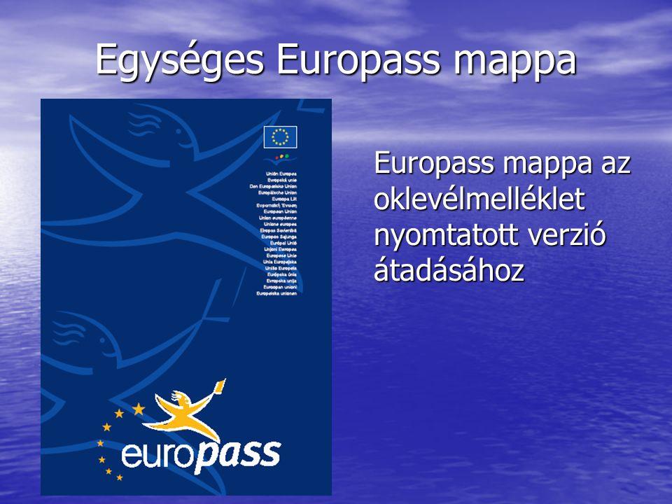 Egységes Europass mappa Europass mappa az oklevélmelléklet nyomtatott verzió átadásához