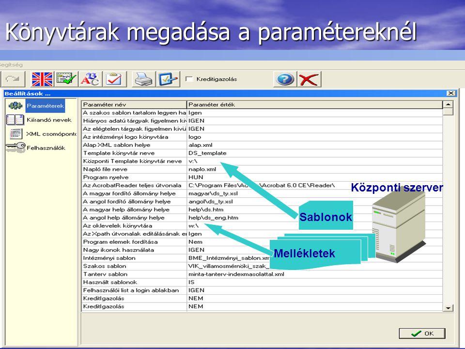 Könyvtárak megadása a paramétereknél Központi szerver Sablonok Mellékletek