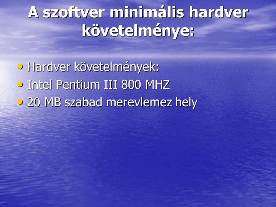 A szoftver minimális hardver követelménye: Hardver követelmények: Hardver követelmények: Intel Pentium III 800 MHZ Intel Pentium III 800 MHZ 20 MB sza