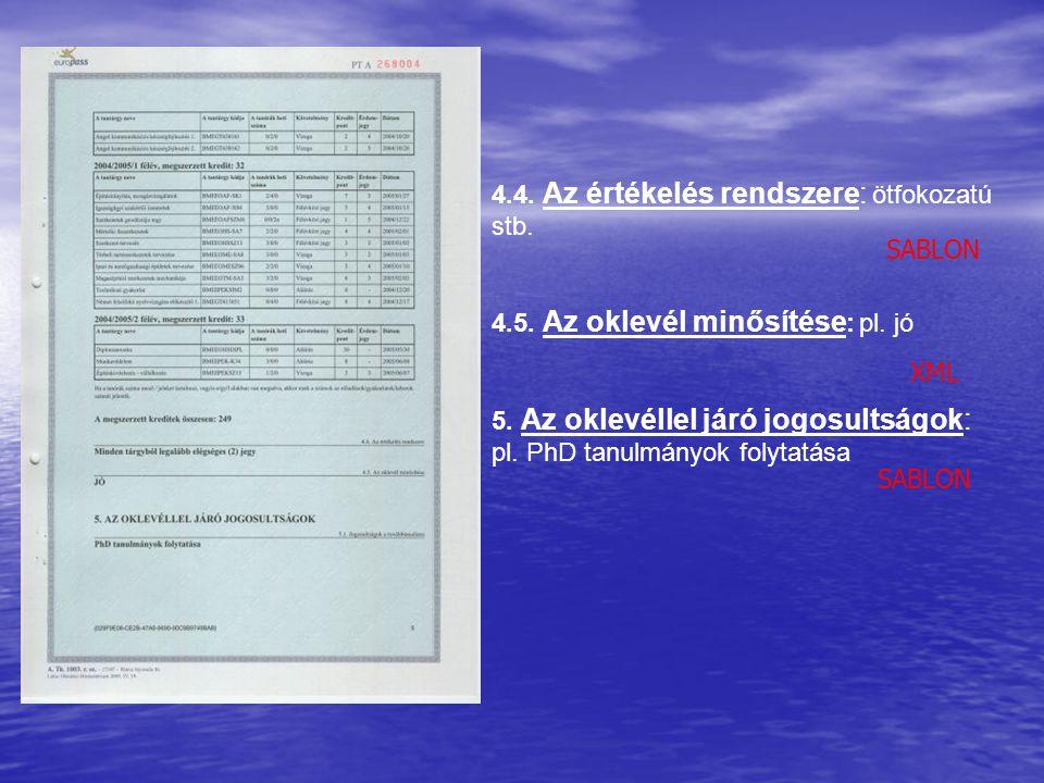 4.4. Az értékelés rendszere: ötfokozatú stb. 4.5. Az oklevél minősítése : pl. jó 5. Az oklevéllel járó jogosultságok: pl. PhD tanulmányok folytatása S