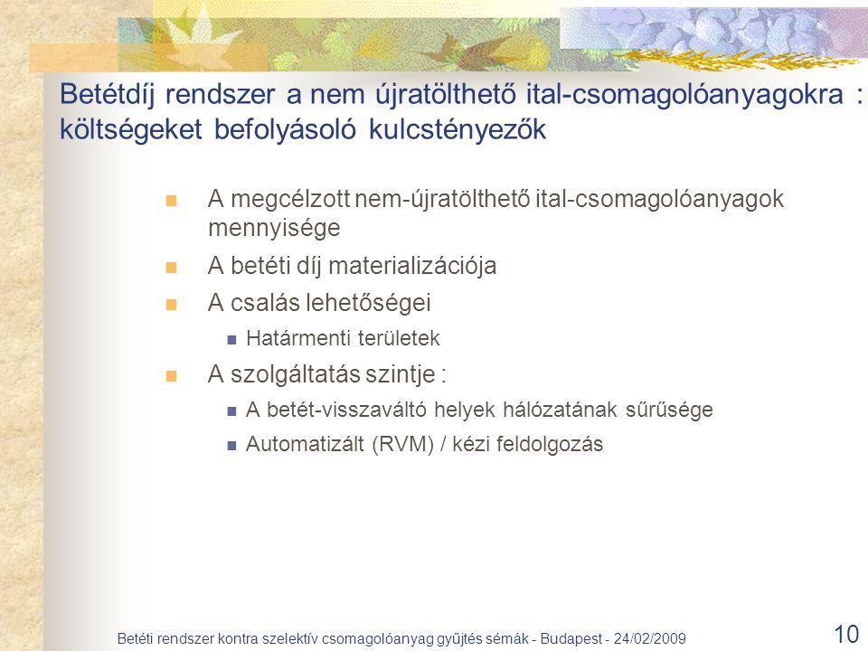 10 Betéti rendszer kontra szelektív csomagolóanyag gyűjtés sémák - Budapest - 24/02/2009 A megcélzott nem-újratölthető ital-csomagolóanyagok mennyisége A betéti díj materializációja A csalás lehetőségei Határmenti területek A szolgáltatás szintje : A betét-visszaváltó helyek hálózatának sűrűsége Automatizált (RVM) / kézi feldolgozás Betétdíj rendszer a nem újratölthető ital-csomagolóanyagokra : költségeket befolyásoló kulcstényezők