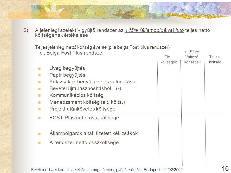16 Betéti rendszer kontra szelektív csomagolóanyag gyűjtés sémák - Budapest - 24/02/2009 2)A jelenlegi szelektív gyűjtő rendszer az 1 főre (állampolgárra) jutó teljes nettó költségének értékelése Teljes jelenlegi nettó költség évente (pl a belga Fost plus rendszer) m € / év Fix Változó Teljes költségek költségek költség Üveg begyűjtés Papír begyűjtés Kék zsákok begyűjtése és válogatása Bevétel újrahasznosításból(-) Kommunikációs költség Menedzsment költség (ált.