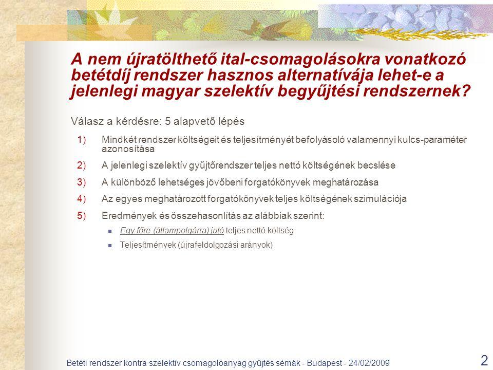 2 Betéti rendszer kontra szelektív csomagolóanyag gyűjtés sémák - Budapest - 24/02/2009 A nem újratölthető ital-csomagolásokra vonatkozó betétdíj rendszer hasznos alternatívája lehet-e a jelenlegi magyar szelektív begyűjtési rendszernek.