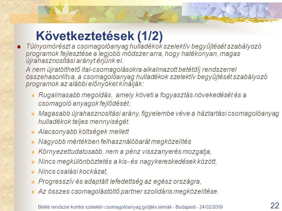 22 Betéti rendszer kontra szelektív csomagolóanyag gyűjtés sémák - Budapest - 24/02/2009 Következtetések (1/2) Túlnyomórészt a csomagolóanyag hulladék