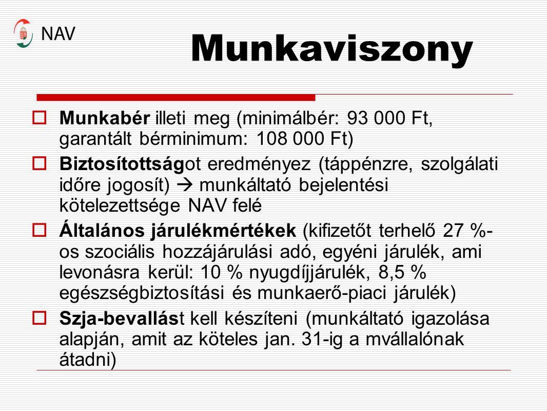 Munkaviszony  Munkabér illeti meg (minimálbér: 93 000 Ft, garantált bérminimum: 108 000 Ft)  Biztosítottságot eredményez (táppénzre, szolgálati időr