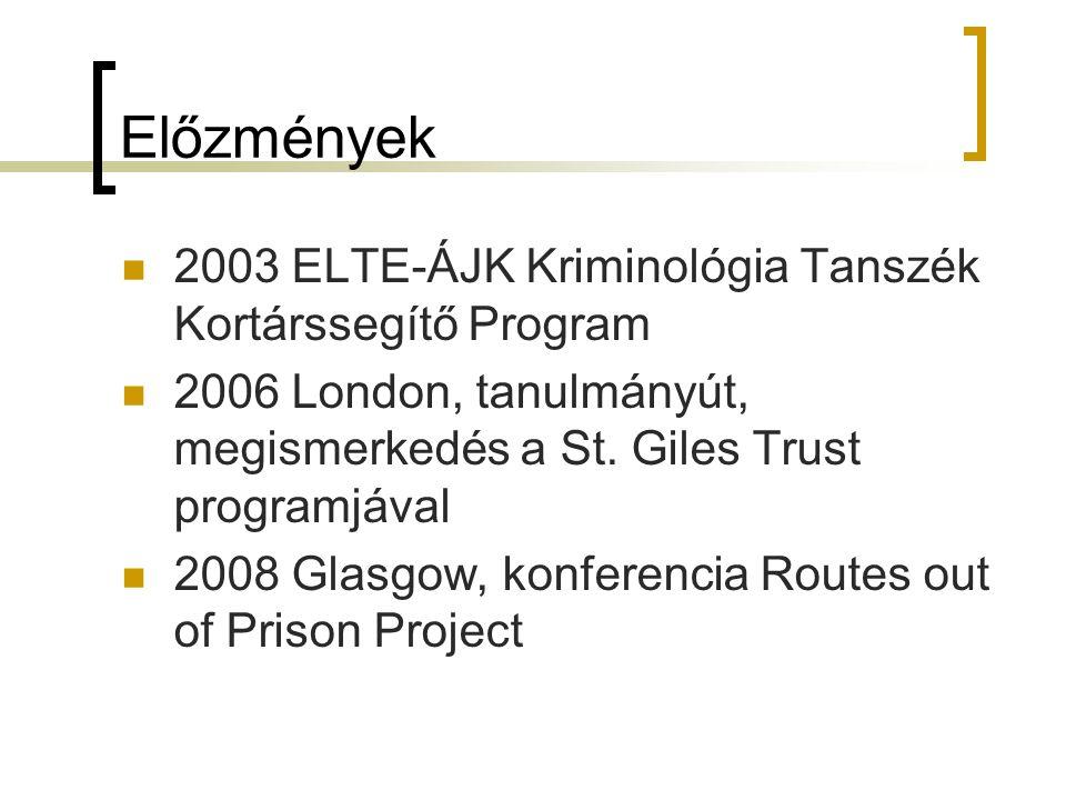 Előzmények 2003 ELTE-ÁJK Kriminológia Tanszék Kortárssegítő Program 2006 London, tanulmányút, megismerkedés a St. Giles Trust programjával 2008 Glasgo