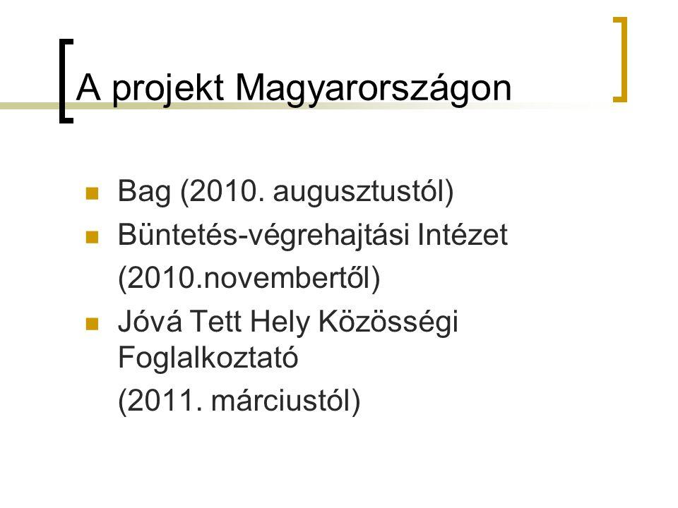 A projekt Magyarországon Bag (2010. augusztustól) Büntetés-végrehajtási Intézet (2010.novembertől) Jóvá Tett Hely Közösségi Foglalkoztató (2011. márci