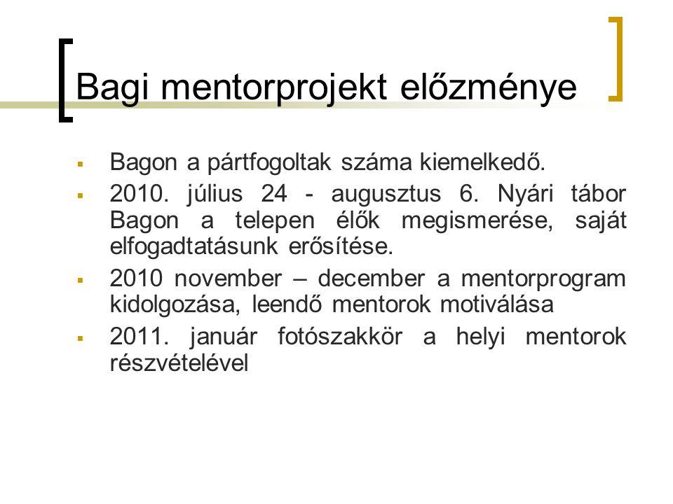 Bagi mentorprojekt előzménye  Bagon a pártfogoltak száma kiemelkedő.  2010. július 24 - augusztus 6. Nyári tábor Bagon a telepen élők megismerése, s
