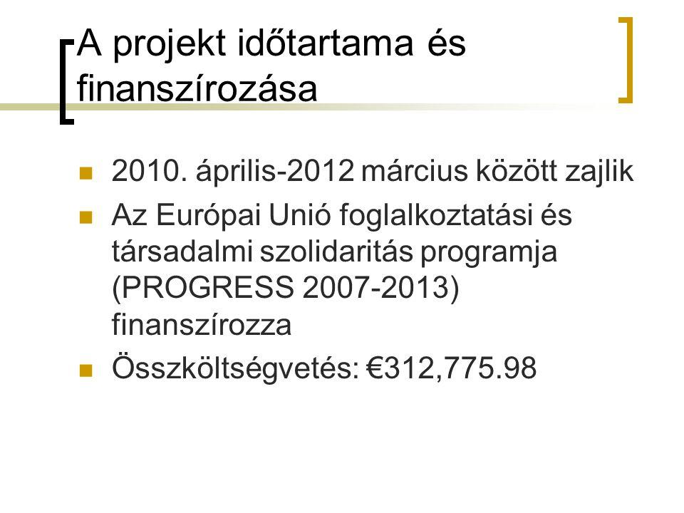 A projekt időtartama és finanszírozása 2010. április-2012 március között zajlik Az Európai Unió foglalkoztatási és társadalmi szolidaritás programja (