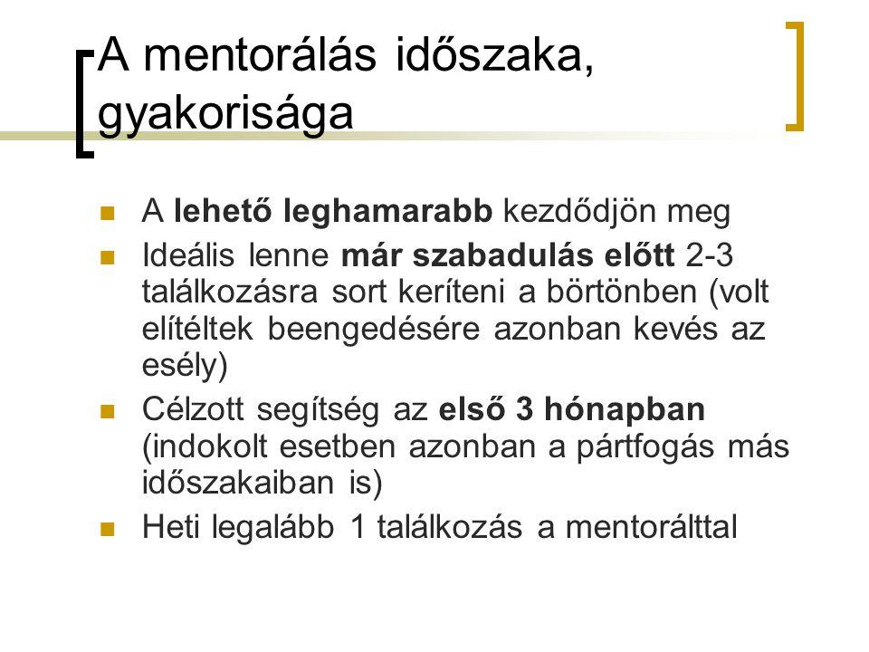 A mentorálás időszaka, gyakorisága A lehető leghamarabb kezdődjön meg Ideális lenne már szabadulás előtt 2-3 találkozásra sort keríteni a börtönben (v