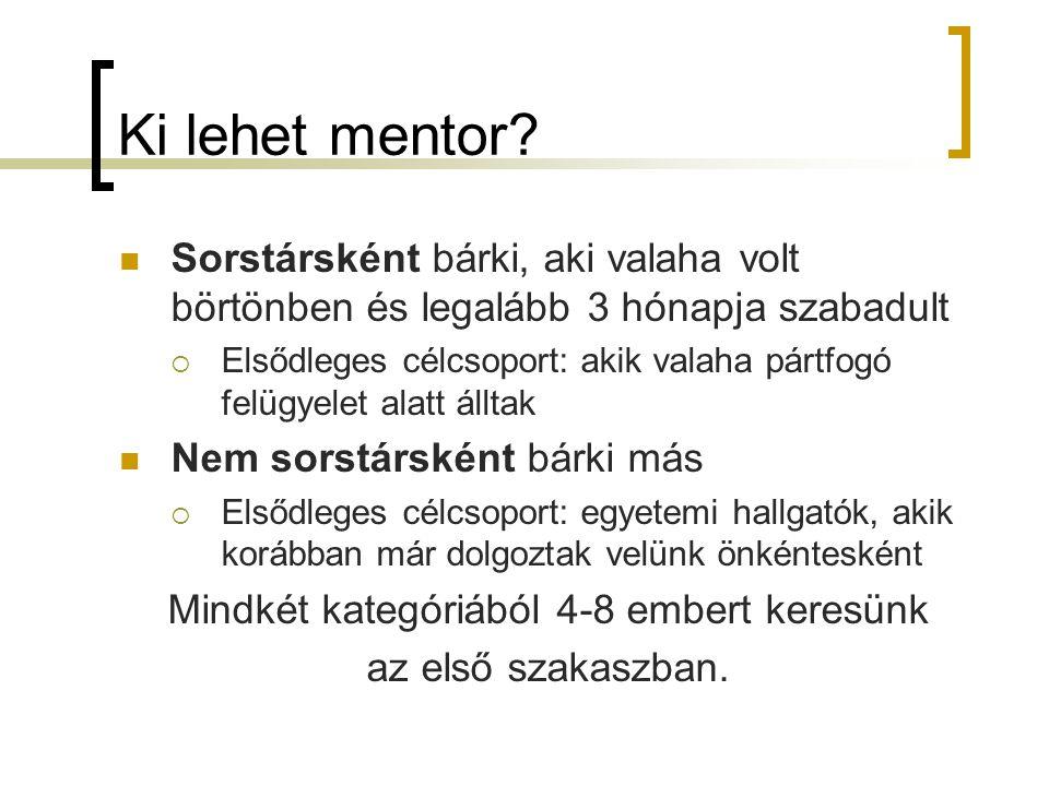 Ki lehet mentor? Sorstársként bárki, aki valaha volt börtönben és legalább 3 hónapja szabadult  Elsődleges célcsoport: akik valaha pártfogó felügyele