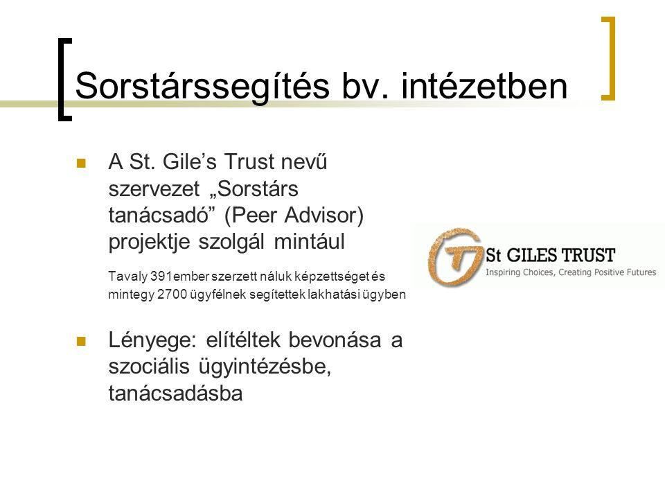 """Sorstárssegítés bv. intézetben A St. Gile's Trust nevű szervezet """"Sorstárs tanácsadó"""" (Peer Advisor) projektje szolgál mintául Tavaly 391ember szerzet"""