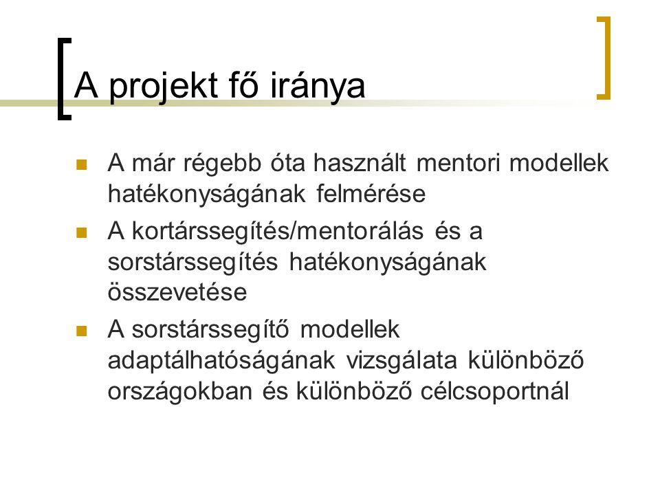 A projekt fő iránya A már régebb óta használt mentori modellek hatékonyságának felmérése A kortárssegítés/mentorálás és a sorstárssegítés hatékonyságá