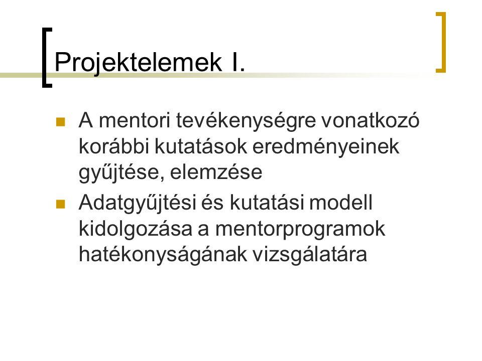 Projektelemek I. A mentori tevékenységre vonatkozó korábbi kutatások eredményeinek gyűjtése, elemzése Adatgyűjtési és kutatási modell kidolgozása a me