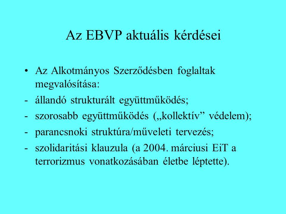 """Az EBVP aktuális kérdései Az Alkotmányos Szerződésben foglaltak megvalósítása: -állandó strukturált együttműködés; -szorosabb együttműködés (""""kollektív védelem); -parancsnoki struktúra/műveleti tervezés; -szolidaritási klauzula (a 2004."""