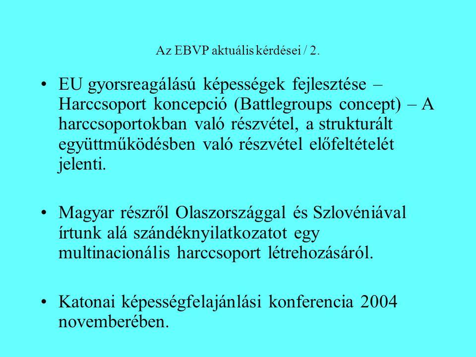 Az EBVP aktuális kérdései / 2. EU gyorsreagálású képességek fejlesztése – Harccsoport koncepció (Battlegroups concept) – A harccsoportokban való részv