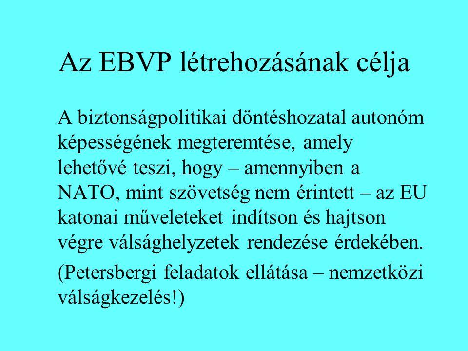 Az EBVP létrehozásának célja A biztonságpolitikai döntéshozatal autonóm képességének megteremtése, amely lehetővé teszi, hogy – amennyiben a NATO, min