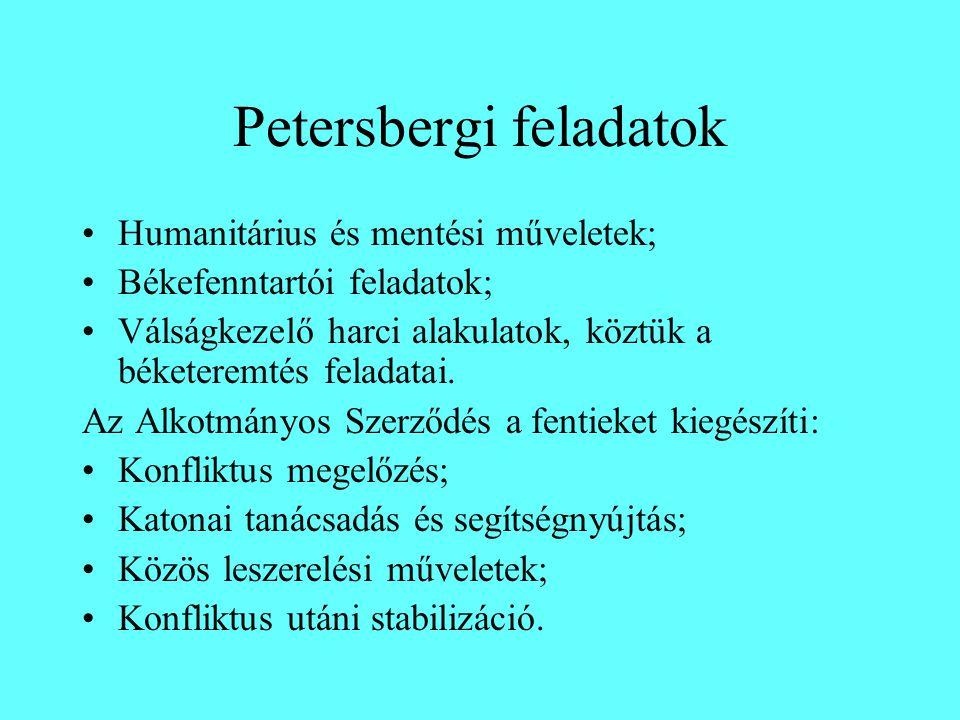 Petersbergi feladatok Humanitárius és mentési műveletek; Békefenntartói feladatok; Válságkezelő harci alakulatok, köztük a béketeremtés feladatai. Az