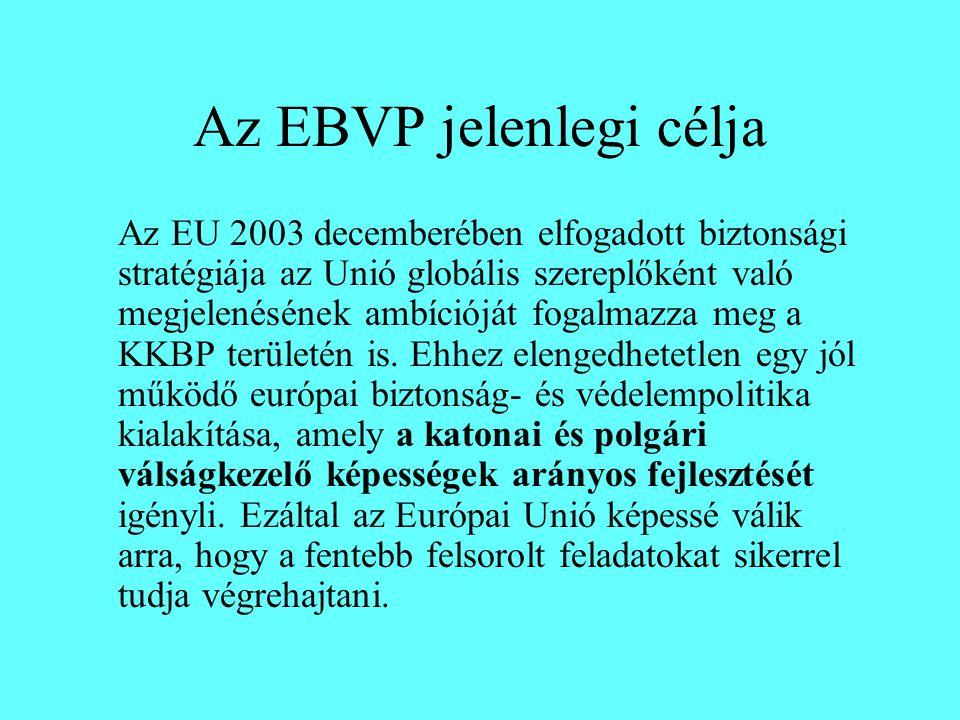 Az EBVP jelenlegi célja Az EU 2003 decemberében elfogadott biztonsági stratégiája az Unió globális szereplőként való megjelenésének ambícióját fogalmazza meg a KKBP területén is.