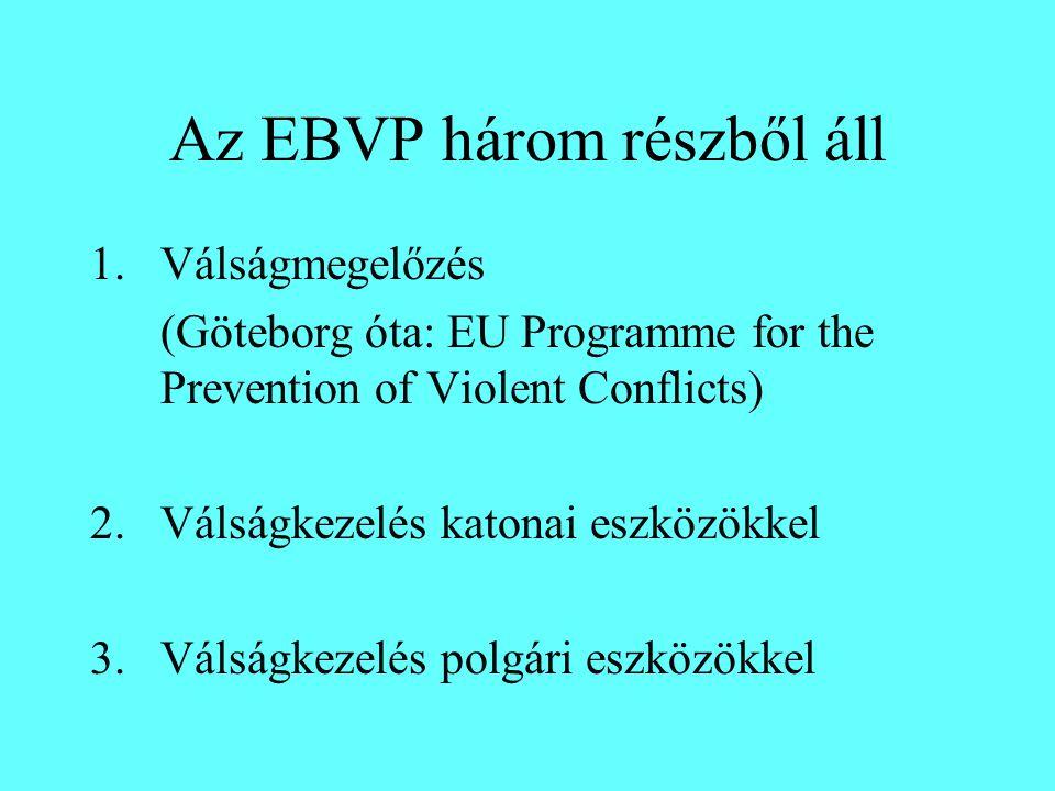 Az EBVP három részből áll 1.Válságmegelőzés (Göteborg óta: EU Programme for the Prevention of Violent Conflicts) 2.Válságkezelés katonai eszközökkel 3.Válságkezelés polgári eszközökkel