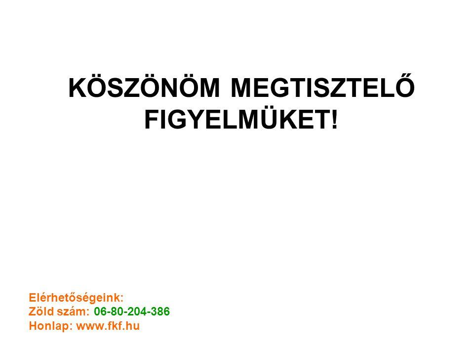 KÖSZÖNÖM MEGTISZTELŐ FIGYELMÜKET! Elérhetőségeink: Zöld szám: 06-80-204-386 Honlap: www.fkf.hu