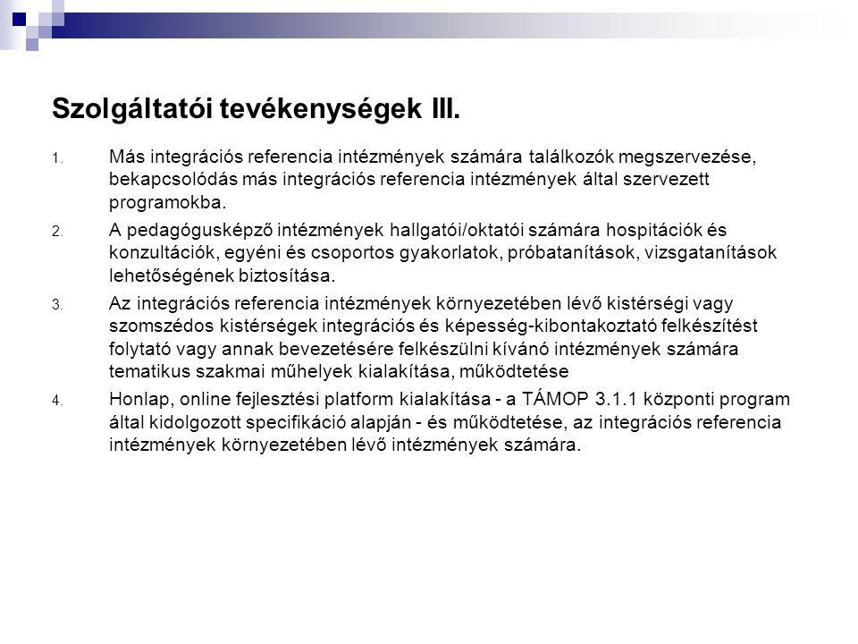 Szolgáltatói tevékenységek III.1.