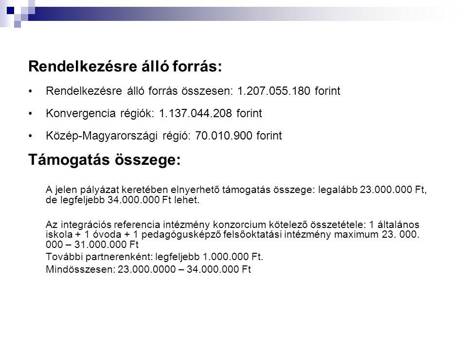 Rendelkezésre álló forrás: Rendelkezésre álló forrás összesen: 1.207.055.180 forint Konvergencia régiók: 1.137.044.208 forint Közép-Magyarországi régió: 70.010.900 forint Támogatás összege: A jelen pályázat keretében elnyerhető támogatás összege: legalább 23.000.000 Ft, de legfeljebb 34.000.000 Ft lehet.