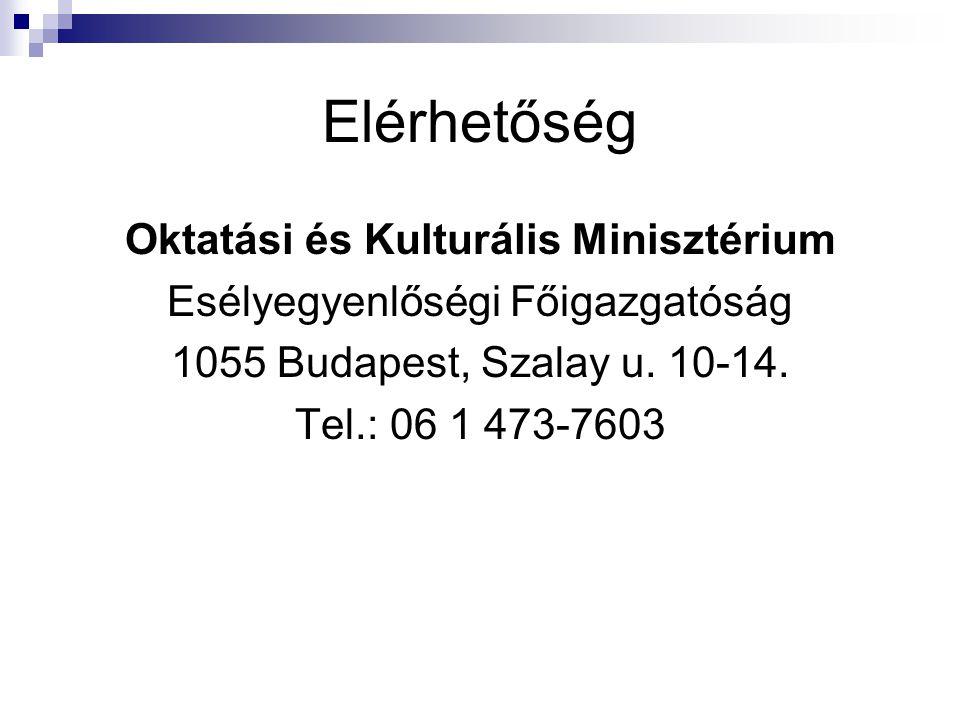 Elérhetőség Oktatási és Kulturális Minisztérium Esélyegyenlőségi Főigazgatóság 1055 Budapest, Szalay u.