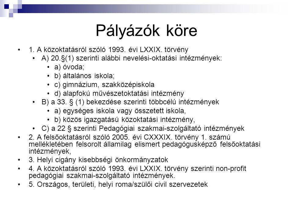 Pályázók köre 1.A közoktatásról szóló 1993. évi LXXIX.