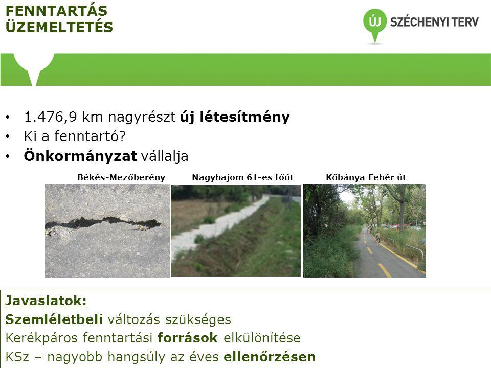 FENNTARTÁS ÜZEMELTETÉS 1.476,9 km nagyrészt új létesítmény Ki a fenntartó? Önkormányzat vállalja Javaslatok: Szemléletbeli változás szükséges Kerékpár