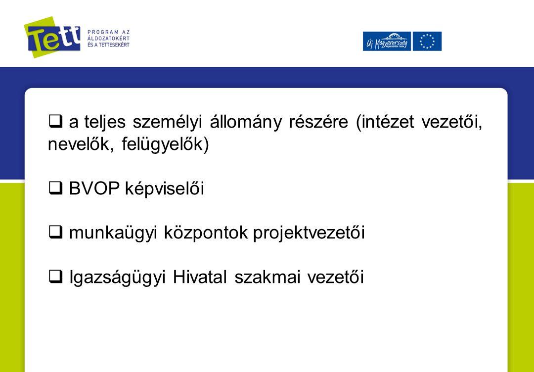  a teljes személyi állomány részére (intézet vezetői, nevelők, felügyelők)  BVOP képviselői  munkaügyi központok projektvezetői  Igazságügyi Hivatal szakmai vezetői