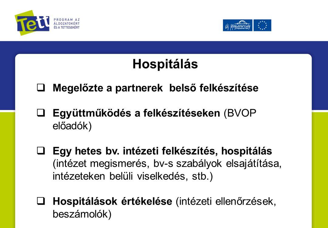 Hospitálás  Megelőzte a partnerek belső felkészítése  Együttműködés a felkészítéseken (BVOP előadók)  Egy hetes bv.