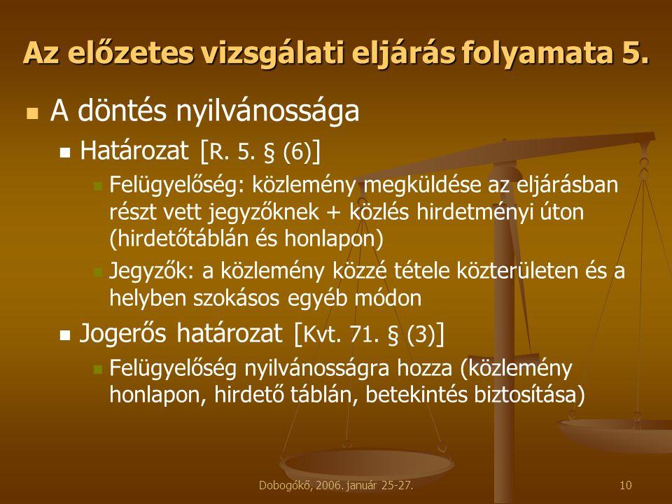 Dobogókő, 2006. január 25-27.10 Az előzetes vizsgálati eljárás folyamata 5. A döntés nyilvánossága Határozat [ R. 5. § (6) ] Felügyelőség: közlemény m